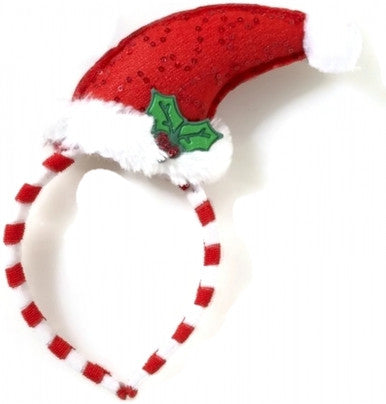 Santa Hat with Mistletoe on Headband