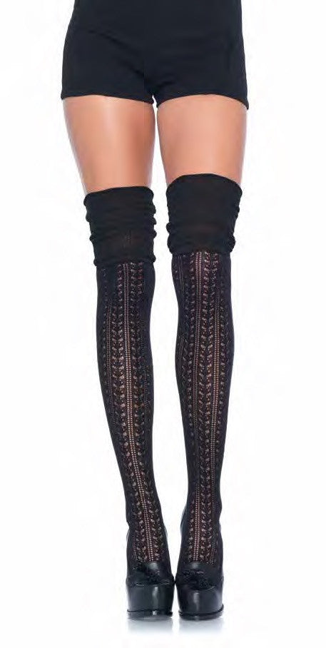 Over the Knee Scrunch Sock Black