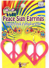 Heart Peace Sign Earrings Pink
