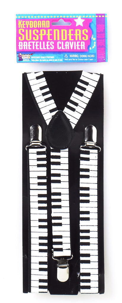 80's Keyboard Suspenders Black/White