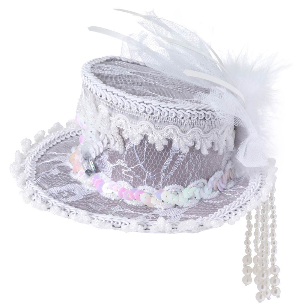 Mini Ghost Lace Top Hat White