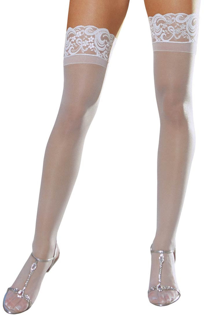 White Sheer Thigh High with Lace