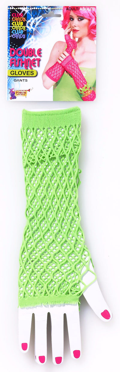 Double Fishnet Gloves Green