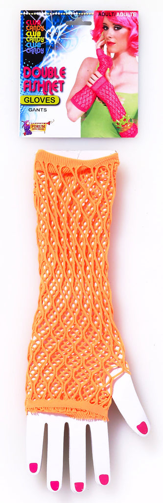 Double Fishnet Gloves Orange