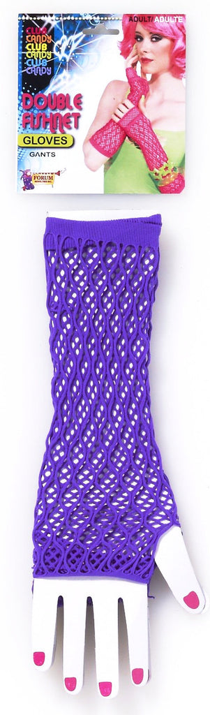 Double Fishnet Gloves Purple