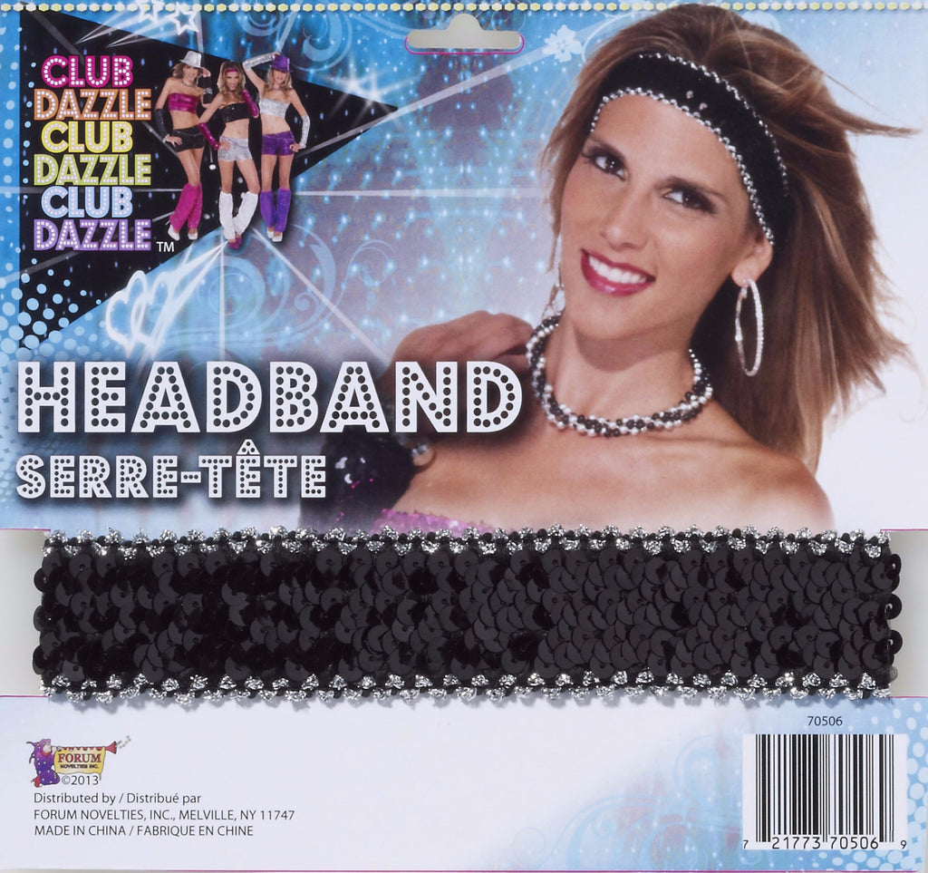 Headband Black Sequin