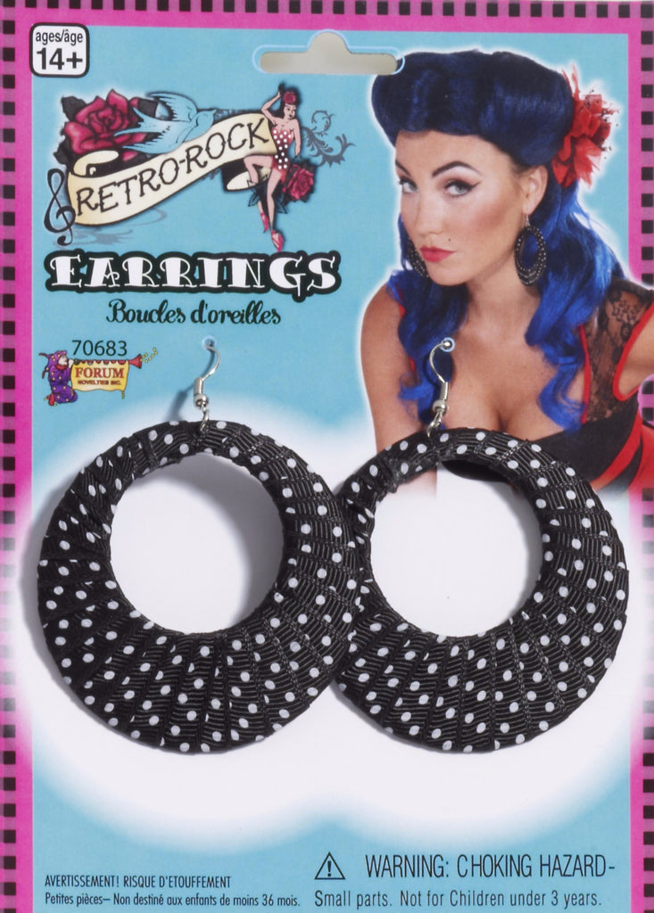 Polka Dot Ribbon Earrings Black/White