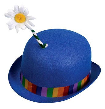 Clown Blue Derby Hat with Flower