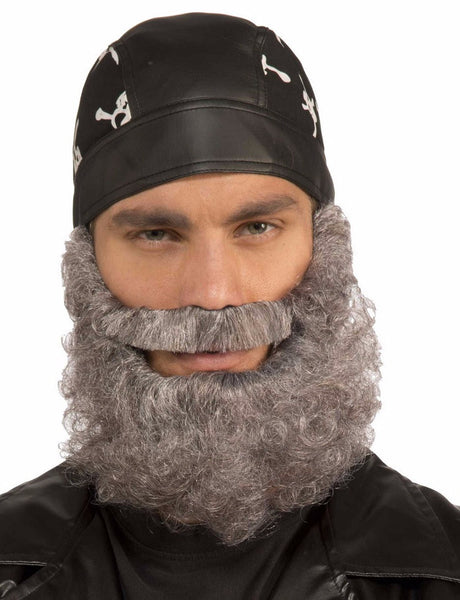 Curly Beard with Attached Moustache Gray