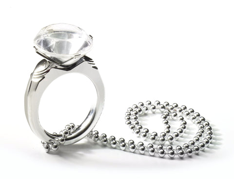 Bachelorette Jumbo Diamond Ring on Beads Silver