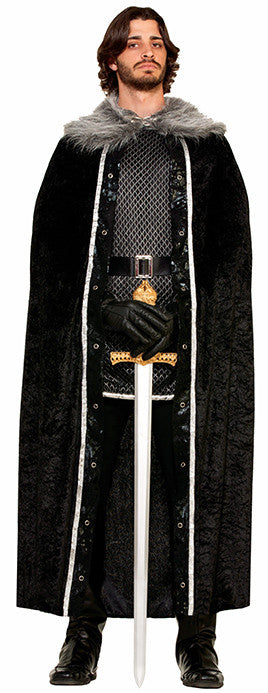 Faux Fur Trimmed Cape Black Male