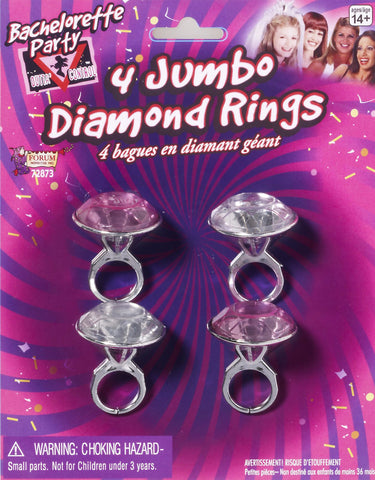 Bachelorette Jumbo Diamond Rings 4 PK