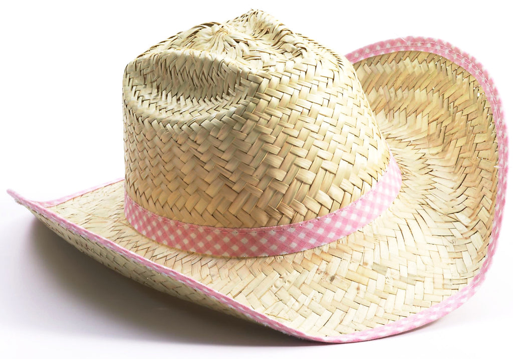 Cowgirl Hat Straw with Pink Trim