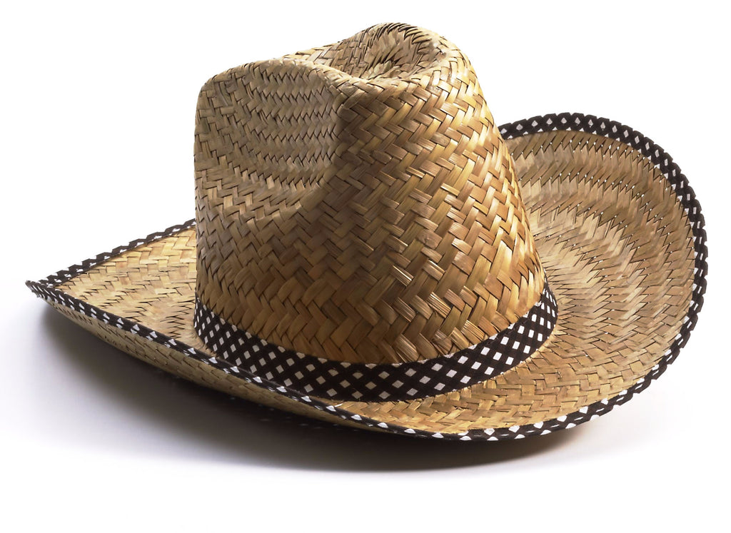 Cowgirl Hat Straw with Brown Trim