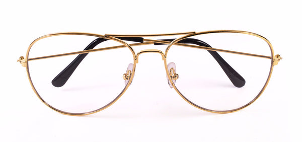 Aviator Glasses Gold Clear Lenses