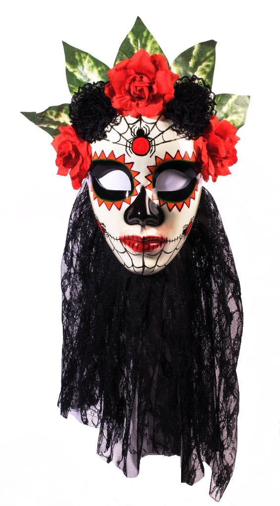 Mask Day of the Dead Señora Black Lace