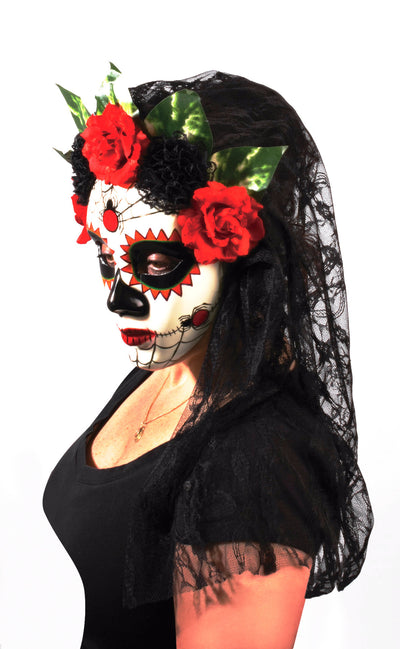 Day of the Dead Señora Black Lace Mask