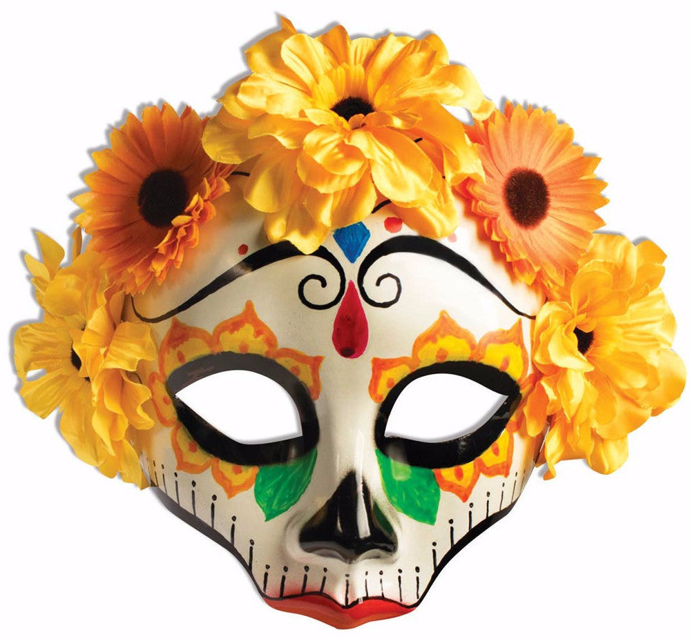 Day of the Dead with Yellow Flower Mask