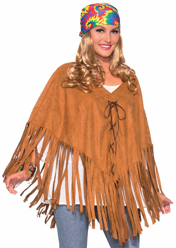 Hippie Faux Suede and Fringed Poncho