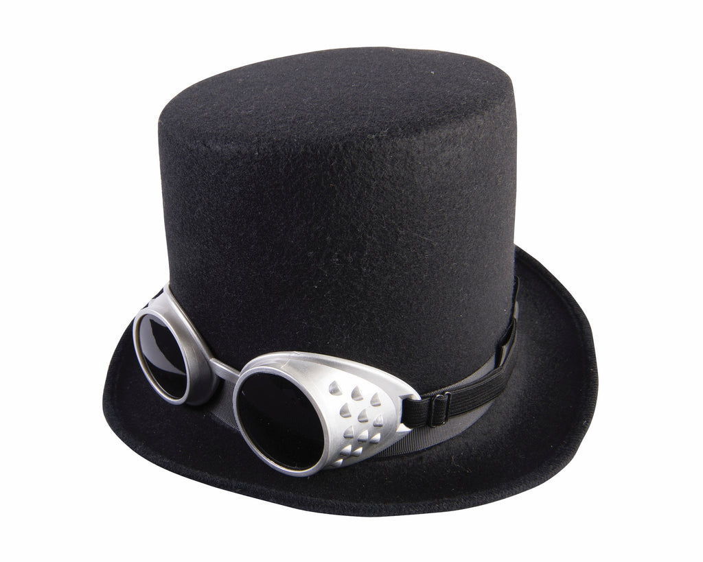 Steampunk Hat with Goggles Black