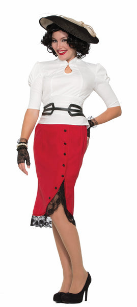 1940's Pencil Skirt Red
