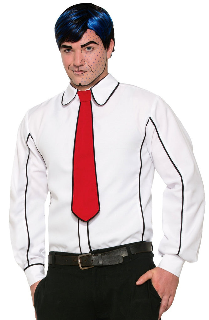Black Outlined White Shirt/Tie
