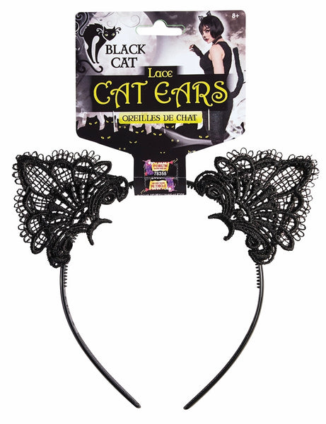 Black Cat Headband with Lace Ears