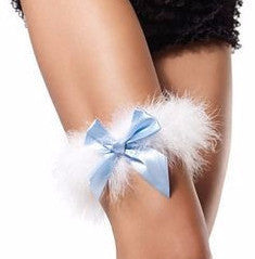 Marabou Garter with Satin Bow Blue