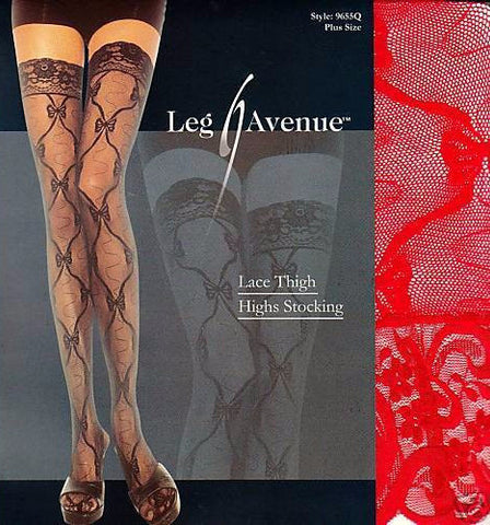 Lace Thigh Highs Red
