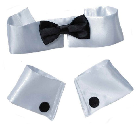 Collar, Tie & Cuff Set Black/White