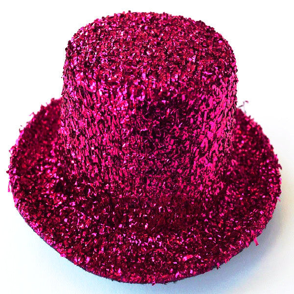 Mini Glitter Top Hat Hot Pink