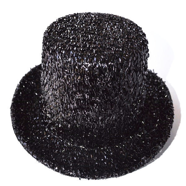 Mini Glitter Top Hat Black