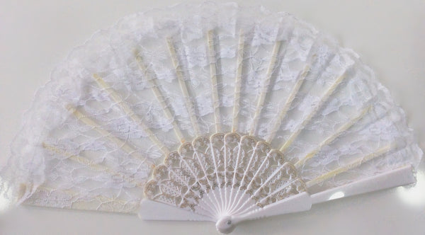 Large Lace Fan White
