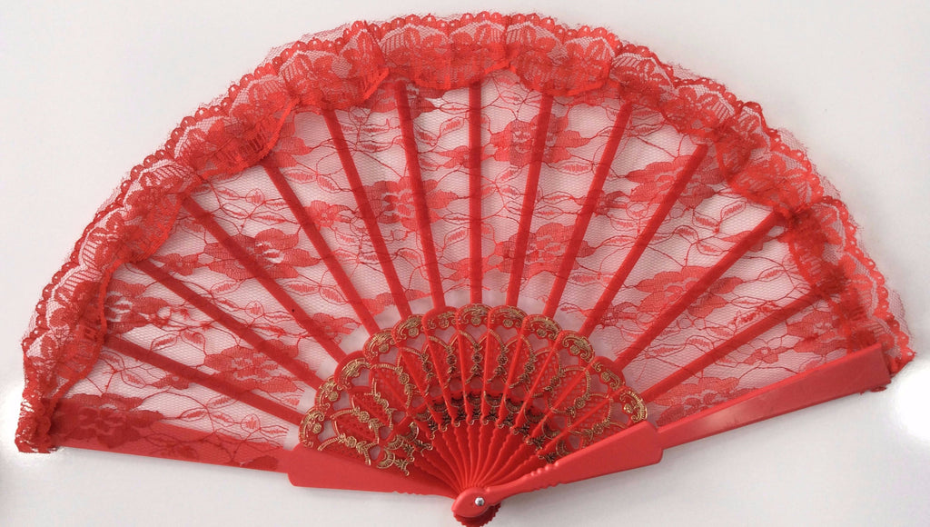 Large Lace Fan Red