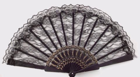 Large Lace Fan Black