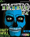 FX Party Skull Face Tattoo Blue