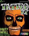 FX Party Skull Face Tattoo Orange