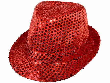 Sequin Fedora Red