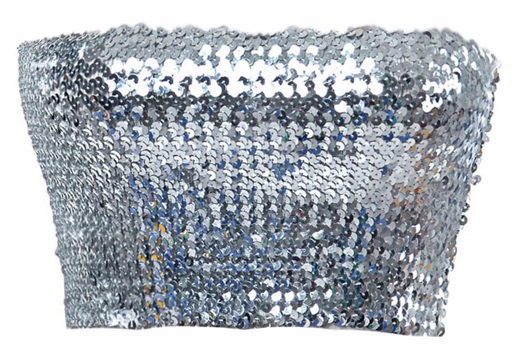 Tube Top Silver Sequin