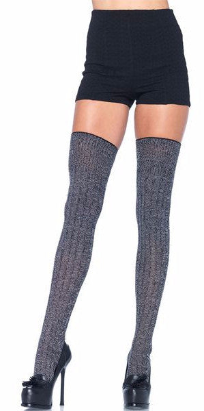 Heather Grey Acrylic Rib Knit Thigh Highs