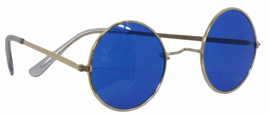 70's Round Glasses Blue