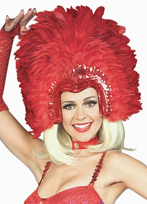 Headpiece Feather Showgirl Red