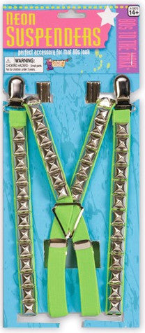 80's Studded Suspenders Green