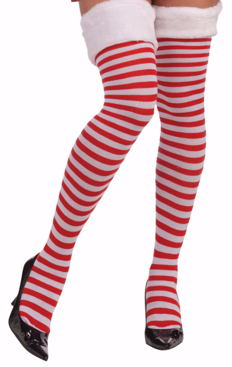 bfdd726a31e Christmas Thigh Highs with Fur Trim - Mystique Costumes