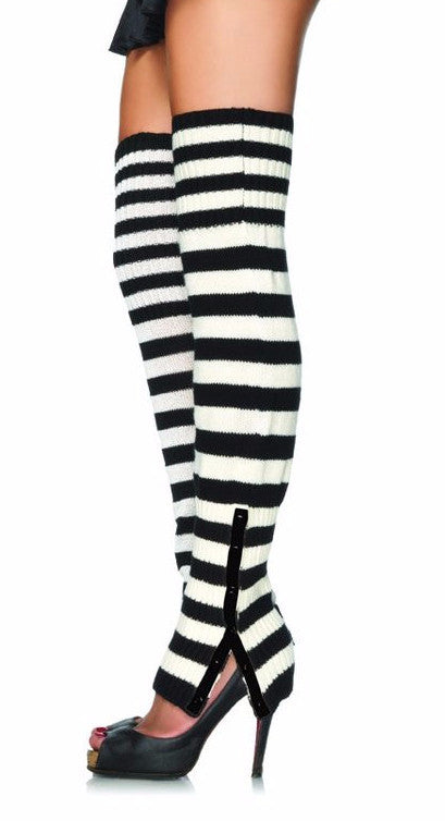 Striped Woven Leg Warmers with Side Snaps