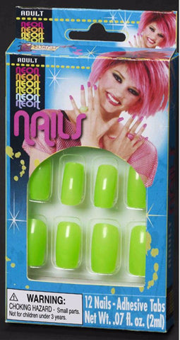 Neon Finger Nails Green