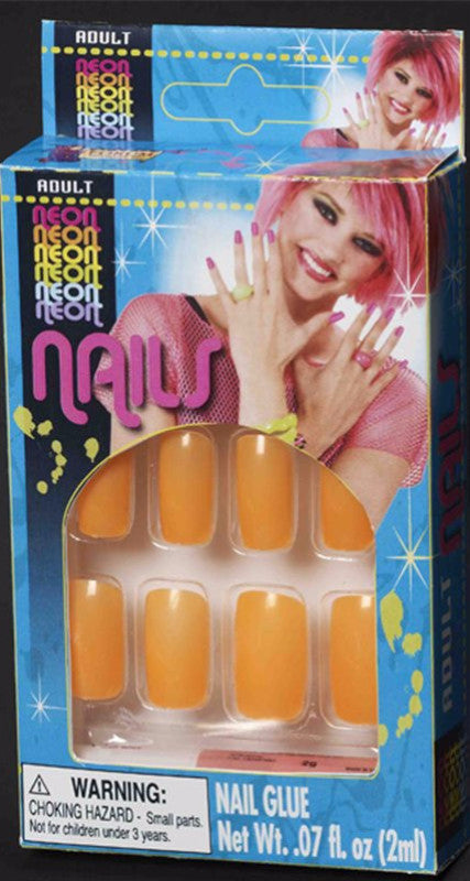 Neon Finger Nails Orange