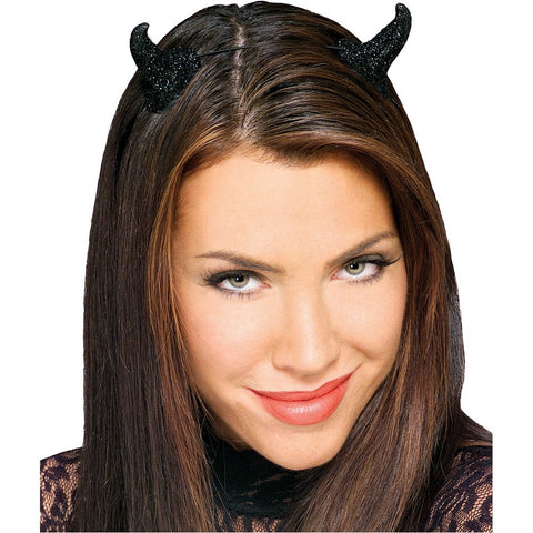 Black Glitter Devil Horns