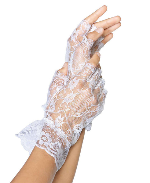 Lace Fingerless Gloves White