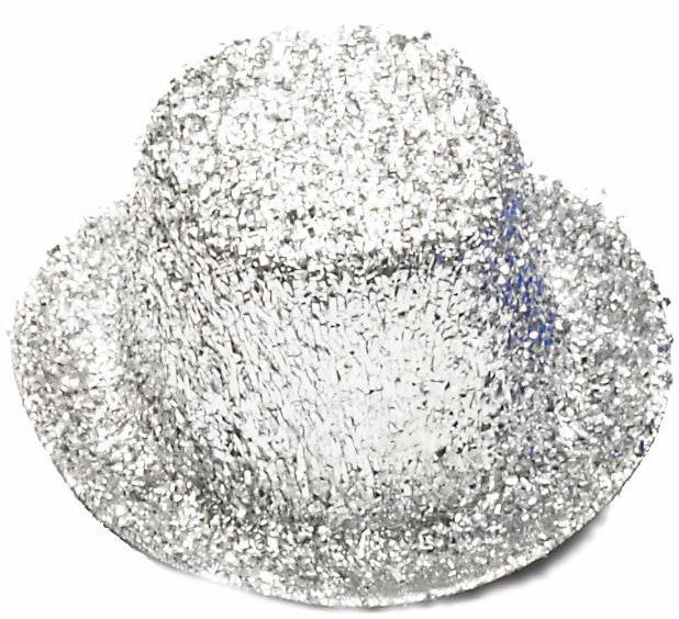 Mini Glitter Top Hat Silver